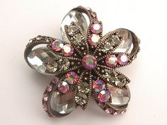 UNIQUE copper and crystal flower brooch pin pink by ShoponSherman,