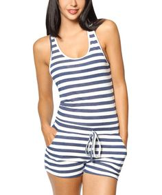Look at this So Nice Collection Navy & White Stripe Drawstring Romper on #zulily today!