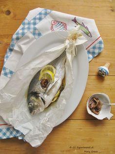 Gli esperimenti di Mary Grace: Orata Gustosa al Cartoccio. Il mio Contributo per il Calendario del Cibo Italiano nella Giornata Nazionale del Pesce al Forno.