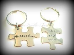 Hand Stamped Couples Keychain Set-Personalized Necklace-Wedding keychain gift - Hand Stamped Stainless Steel
