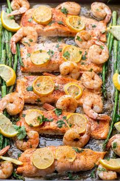 Simple recipe for baked salmon with shrimp and asparagus. The perfect family dinner recipe. Simple recipe for baked salmon with shrimp and asparagus. The perfect family dinner recipe. Salmon Recipe Videos, Baked Salmon Recipes, Fish Recipes, Seafood Recipes, Cooking Recipes, Healthy Recipes, Salmon And Shrimp, Salmon And Asparagus, Butter Salmon
