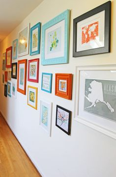Map Wall.  Travel Wall - Buy a map or postcard from each place you visit and frame it.