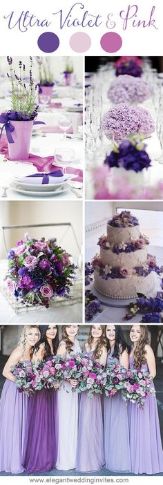 Sweet ultra violet purple and pink wedding party inspiration for 2018 trends