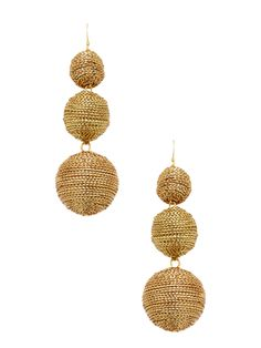 f19040c533fd Gold-Plated Wrapped Ball Drop Earrings Bolsos De Ganchillo