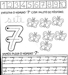 aprendendo%2Bos%2Bnumeros%2Bde%2B1a10%2B7 Number Worksheets, Free Printable Worksheets, Preschool Worksheets, Preschool Activities, Old Teacher, Numbers Preschool, Alphabet Coloring Pages, Handwriting Practice, Coloring For Kids