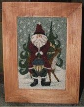 Love this Folk Art Santa and reindeer Punch Needle Embroidery