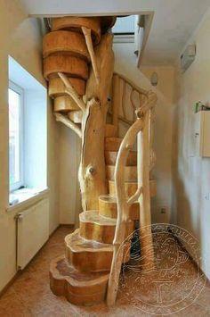 Spiral wood stair case