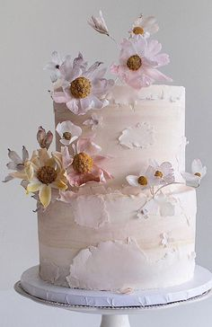 2 Tier Wedding Cakes, Painted Wedding Cake, Floral Wedding Cakes, Wedding Cake Decorations, Elegant Wedding Cakes, Wedding Cakes With Flowers, Cool Wedding Cakes, Floral Cake, Wedding Cake Designs