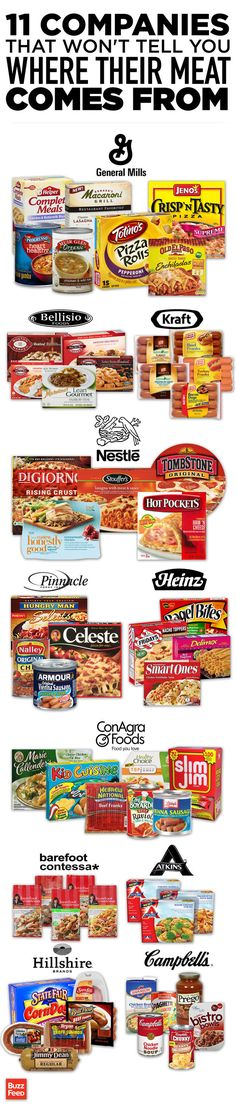 We asked food giants for the names of processing companies that supply meat for their frozen pizzas, canned soup, and hot dogs. Only 2 out of 13 would share the info — even confidentially-- 11 Food Companies That Won't Tell You Where Their Meat Comes From
