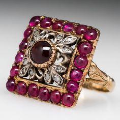Jewelry Diamond : Antique Spessertine Garnet & Ruby Ring w/ Filigree Details Silver & . - Buy Me Diamond Victorian Jewelry, Antique Jewelry, Vintage Jewelry, Art Deco Diamond Rings, Emerald Rings, Ruby Rings, Jewelry Accessories, Jewelry Design, Garnet Jewelry