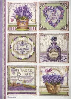 Lavender Basket Flowers  A4 ITD R151 Rice Paper for Decoupage Scrapbooking