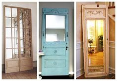 7 fantastic ideas for recycling old wooden doors Discover 7 ideas to recycle old wooden doors and turn them into useful and decorative elements in your home. You'll be surprised! Old Wooden Doors, Old Doors, Retro Furniture Makeover, Decor Interior Design, Interior Decorating, Recycled Door, Repurposed Doors, Unique Shelves, Barn Style Doors