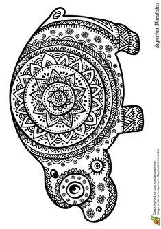 Coloriage d'un superbe mandala en forme d'hippopotame - Hugolescargot.com