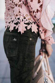 Olive Denim & Blush Floral Detailed Top