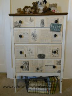What a sweet dresser!  RUTH'S farm and furniture: storybook bureau