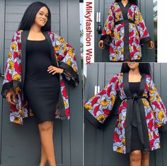 Short African Dresses, Latest African Fashion Dresses, African Print Fashion, African Print Dress Designs, African Print Clothing, Kimono Fashion, Fashion Outfits, Mode Kimono, African Attire