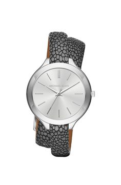 MICHAEL Michael Kors 'Slim Runway' Leather Strap Watch, 42mm