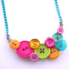 Bright Neon Jewelry  Vintage Button Necklace  by buttonsoupjewelry, $30.00