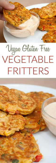Vegetable Fritters (vegan, gluten free) - These vegan fritters make a great appetizer or meal. If you have vegetables to use up, these are a great way to use them up. #fritters #vegan #chickpeaflour #glutenfree