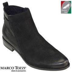 Marco Tozzi női bőr bokacsizma 2-25353-27 096 fekete kombi