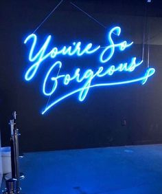 You are so gorgeous taylor swift blue neon Blue Aesthetic Pastel, Aesthetic Colors, Neon Azul, You Are So Gorgeous, Neon Words, Everything Is Blue, Light Quotes, Photo Wall Collage, Love Blue