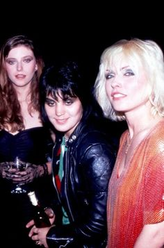 """Bebe Buell, Joan Jett and Debbie Harry at a party to celebrate Blondie's new record """"Eat to the Beat"""", Firoucci, Beverly Hills,1979."""
