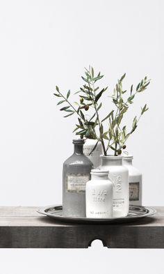 ADORA vases and FLORA decoration olive. Lene Bjerre, spring 2014.