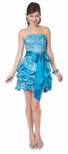 Short Cute Strapless Turquoise Cocktail Prom Dress Ribbon Bow Bubble Hem Ruched $96.99