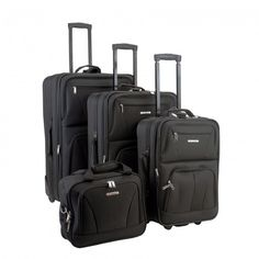 4 Piece Expandable Rolling Luggage Set Travel Accessories Carry On Upright Bags