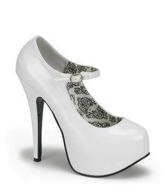 Bordello White Patent Mary Jane Stilettos - The Atomic Boutique