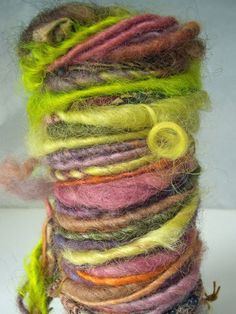 "MyMixMix on Etsy. ""Crazy Quilt II"" poquito skein of hand-spun wool art yarn."