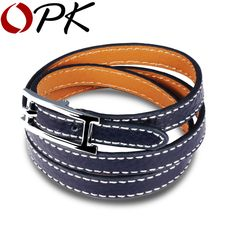 Woman Leather Charm Bracelets Punk Style Three Layers Pink/Red/Blue/Black Leather Women Jewelry Gift Bracelet PH988