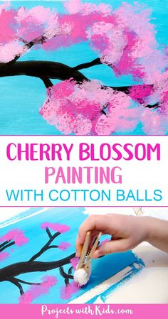 Cherry blossom painting with cotton balls is the perfect spring art project for kids. Kids will love exploring and painting the gorgeous cherry blossom colors with cotton balls in this process art activity. A fun painting project for kids of all ages! Kids Crafts, Spring Crafts For Kids, Preschool Crafts, Arts & Crafts, Tree Crafts, Flower Crafts, Spring Art Projects, Projects For Kids, Art Project For Kids