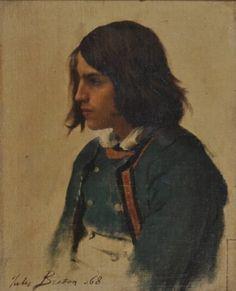 Jules BRETON (1827-1906)  Portrait de jeune breton de profil, 1868, étude pour «un grand Pardon breton, 1869»
