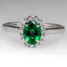 Vivid Green Emerald Engagement Ring 14K White Gold