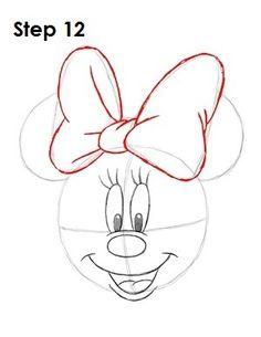 Draw Minnie Mouse Step 12