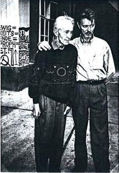 "David Bowie and Oswald Tschirtner at the Gugging ""House of the Artists"" - Haus der Künstler - in September 1994"
