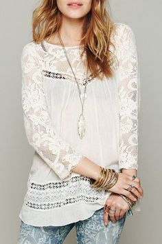 Sexy Round Neck 3/4 Sleeve See-Through Hollow Out Lace Women's Blouse