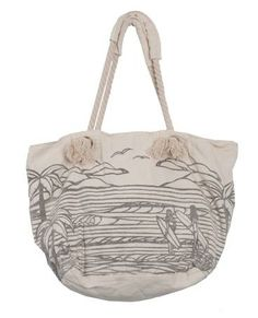 2bb2df9da729 WAVES BEACH BAG Large canvas beach bag with oversized Heather Brown scenic  print. Kinmart Handbags