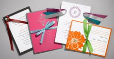 Add a personal touch to your wedding invitations with ribbon - Here are some of our creations!