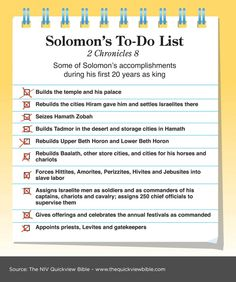 The Quick View Bible » Solomon's To-Do List