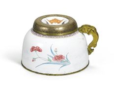 Enamel on copper Chinese water pot with gilt dragon handle , C18th
