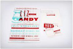Liz and Andy's Wedding Silk-screened Invitations