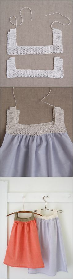 sweet crochet and sew dress with free pattern Gauze for lightweight summer nightgowns! Creative Image of Free Crochet Toddler Dress Patterns Free Crochet Toddler Dress Patterns 10 Free Crochet And Fabric Dress Patterns This is a great idea for when you ha Crochet Toddler Dress, Toddler Dress Patterns, Crochet Summer Dresses, Crochet Girls, Crochet Clothes, Crochet Baby, Free Crochet, Easy Crochet, Crochet Yoke