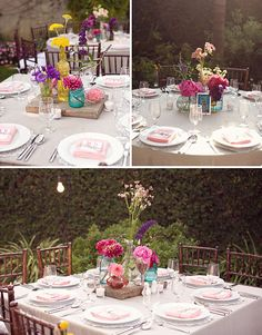bright flowers in individual corordinating vases / wedding centerpieces
