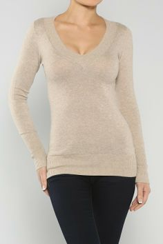 V-Neck Sweater Top, Taupe - Juliette's Jewels