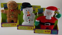 Gingerbread Man Snowman Santa Puzz Pals 3 Pc Soft Puzzle Activity Toy Mary Meyer #MaryMeyer