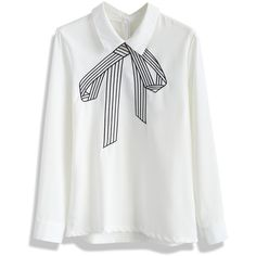 Chicwish (130 BRL) ❤ liked on Polyvore featuring tops, blouses, shirts, chicwish, white, polyester shirt, white shirt, white bow blouse, white embroidered blouse and bow blouse