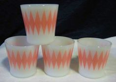 A great set of 4, Glasbake, Pink Diamond coffee mugs....