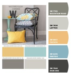 Dahlia Floral bedding comforter or duvet King, Queen, Twin and TwinXL. Trending bedroom colors Golden Yellow, Aqua Blue and Gray (Grey) Farmhouse Kitchen Colors, Paint Colors For Home, Living Room Color Schemes, Family Room, Kitchen Color Palettes, House Colors, Living Room Grey, Home Decor, Bedroom Colors